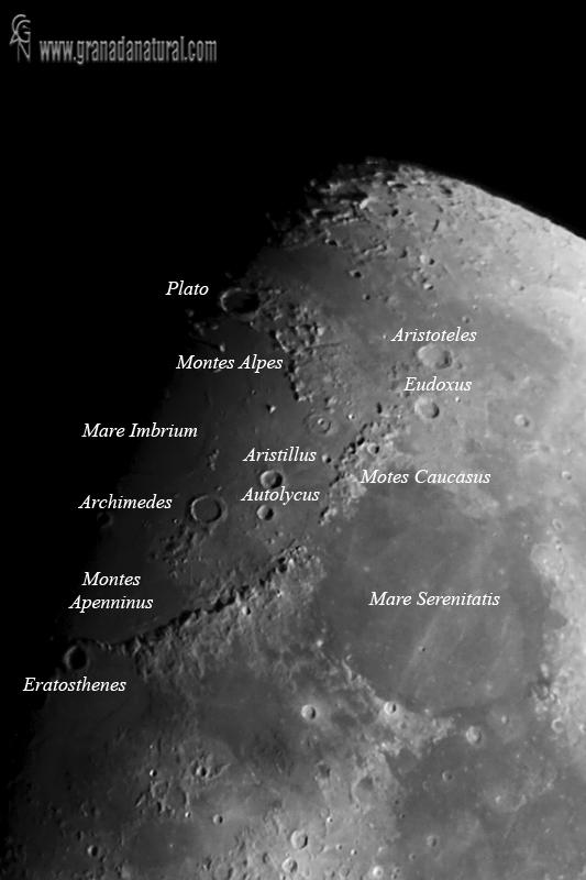 Cráteres lunares - Limbo norte
