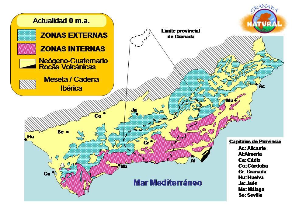 Cordillera Betica Mapa Fisico.Granada Natural